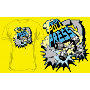 T-Shirt Push Pull Press (jaune) Scitec Nutrition